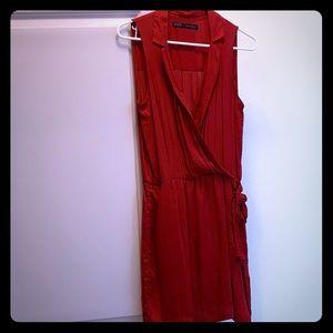 Red wrap around dress